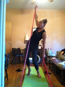 Floery Mahoney demonstrating the Da Vinci Body Board in my messy apartment!