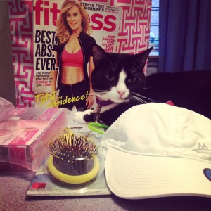 Look at this goodie bag! (Okay, the cat did not come from Fitness magazine.)